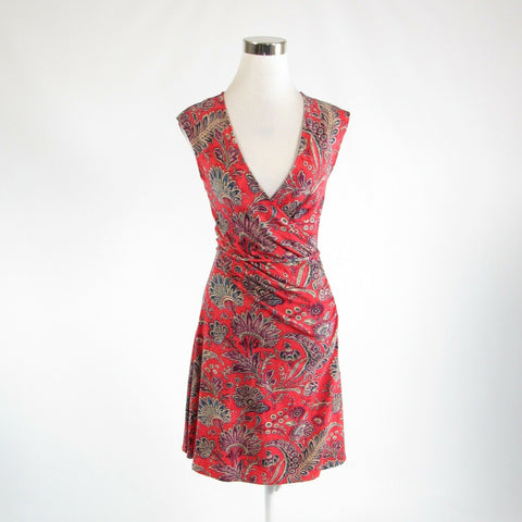 Orange red purple floral print cotton blend LAUREN RALPH LAUREN A-line dress PXS