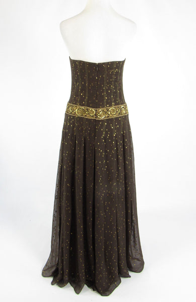 Brown gold polka dot silk blend KAY UNGER strapless ball gown dress 6-Newish