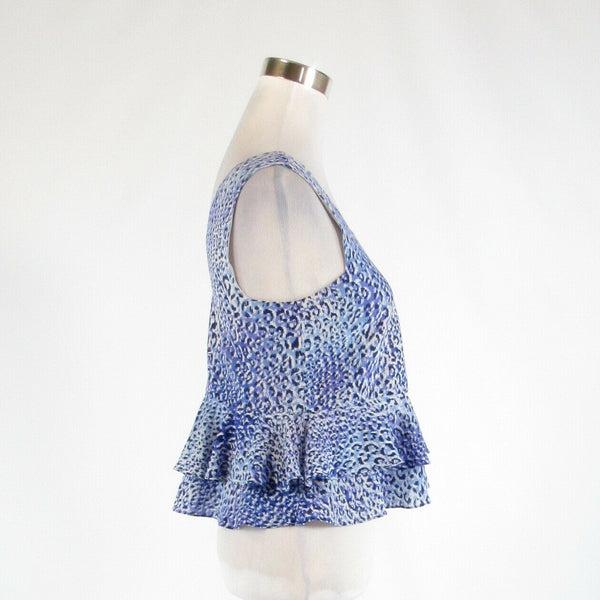 Blue cheetah 100% silk REBECCA TAYLOR sleeveless crop top blouse 0-Newish