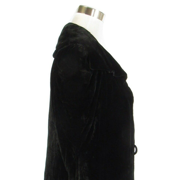 Black velvet long sleeve vintage evening jacket M-Newish