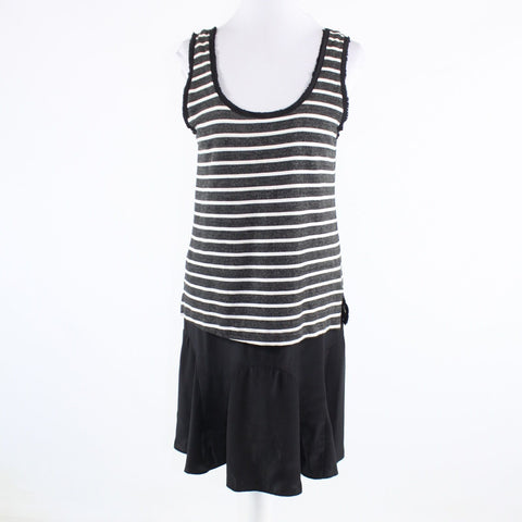 Charcoal gray white black striped silk blend HEATHER sleeveless blouson dress S
