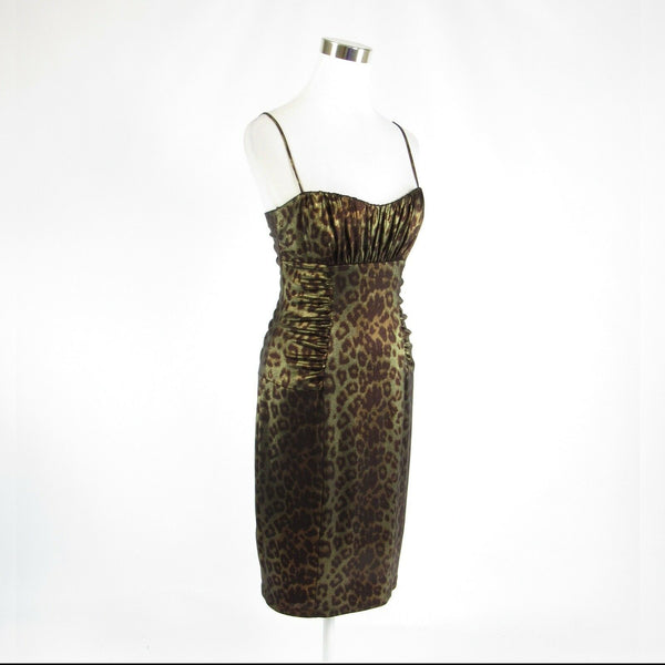Olive green brown cheetah DAVID MEISTER spaghetti strap bodycon dress 6-Newish