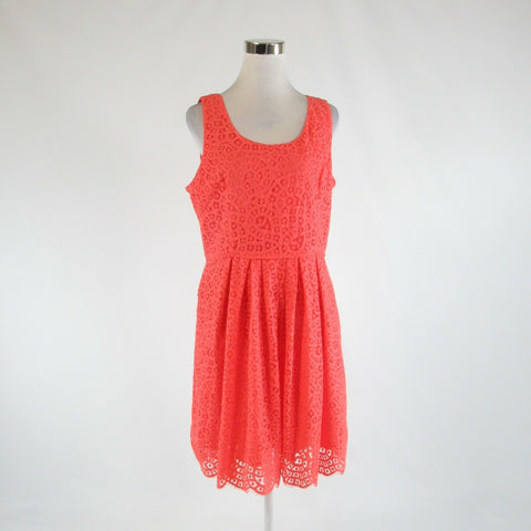 Coral orange lace J. CREW sleeveless A-line dress 14 NWT $128.00