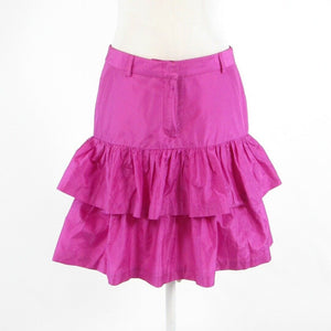 Bright pink 100% silk TIBI tiered skirt 4-Newish