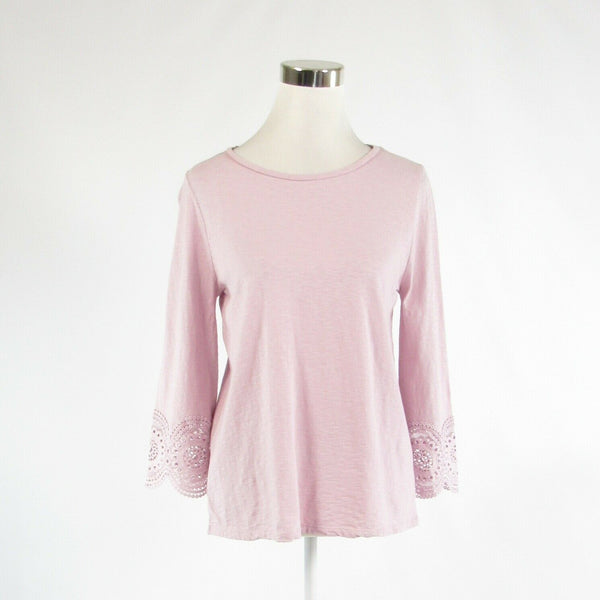 Light purple 100% cotton ANN TAYLOR LOFT stretch bell sleeve knit blouse S-Newish