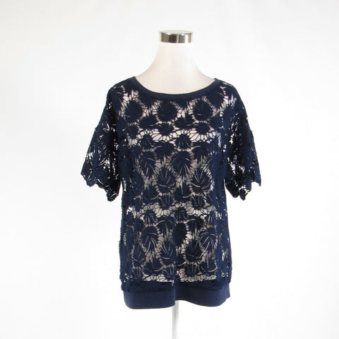 Navy blue cotton blend LILLY PULITZER short sleeve scoop neck sweater M-Newish