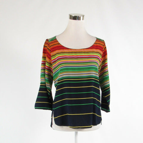 Navy blue orange uneven striped 100% silk AMANDA UPRICHARD 1/2 sleeve blouse P-Newish