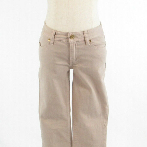 Beige cotton blend TORY BURCH embroidered trim stretch cropped capri jeans 25