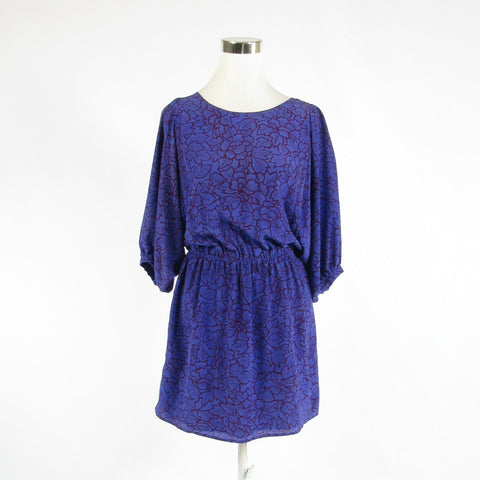 Blue purple floral print 100% silk PIPPA 3/4 batwing sleeve tunic dress 4-Newish