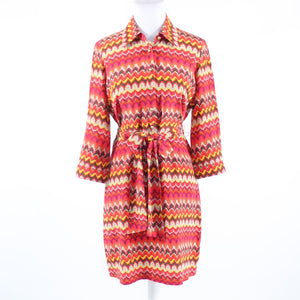 Orange yellow geometric BETH BOWLEY button chest 3/4 sleeve shirt dress 6
