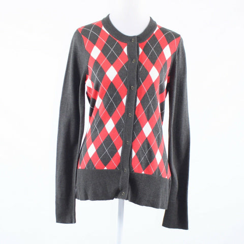 Charcoal gray red argyle A U R long sleeve cardigan sweater L
