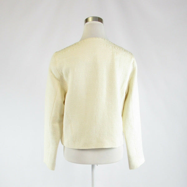 Ivory textured cotton blend CHRISTOS GARKINOS Eureka long sleeve jacket M-Newish
