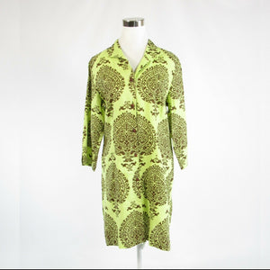 Light green brown paisley linen blend CONNIE ROBERSON 3/4 sleeve shirt dress M