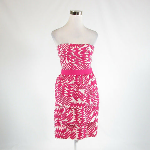 Bright pink white geometric cotton blend BANANA REPUBLIC tiered dress 14 NWT