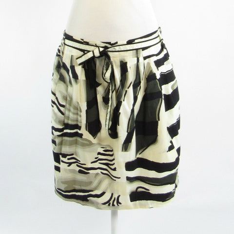 Black ivory zebra cotton blend PER SE pencil skirt 16