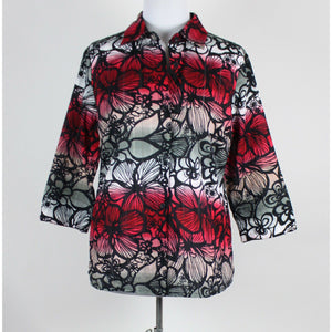 KIM ROGERS black gray red floral 100% cotton 3/4 sleeve button down blouse S-Newish