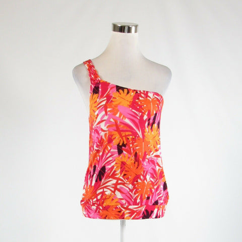 Dark pink orange floral print cotton blend EXPRESS stretch sleeveless blouse S