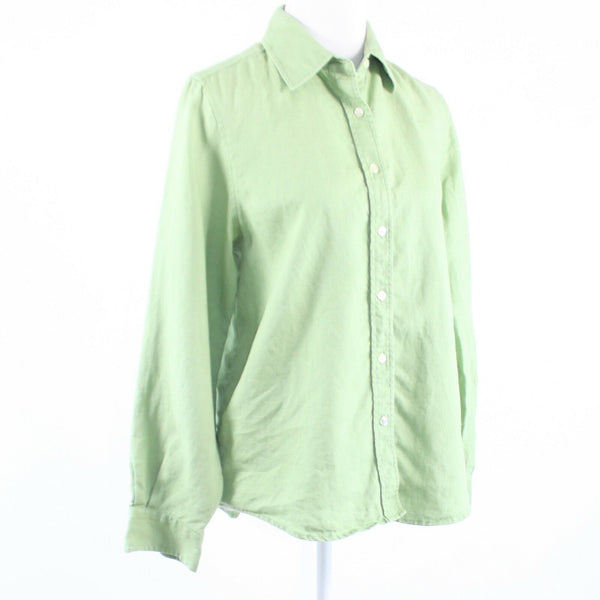 Light green 100% linen ORVIS long sleeve button down blouse 10-Newish