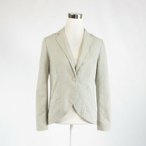 White gray striped cotton blend FRENCH CONNECTION long sleeve blazer jacket S-Newish