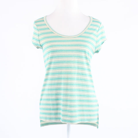 Teal green gold striped stretch shimmery THE LIMITED cap sleeve blouse S
