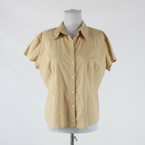Khaki beige cotton blend NEW YORK and COMPANY short sleeve button down blouse L