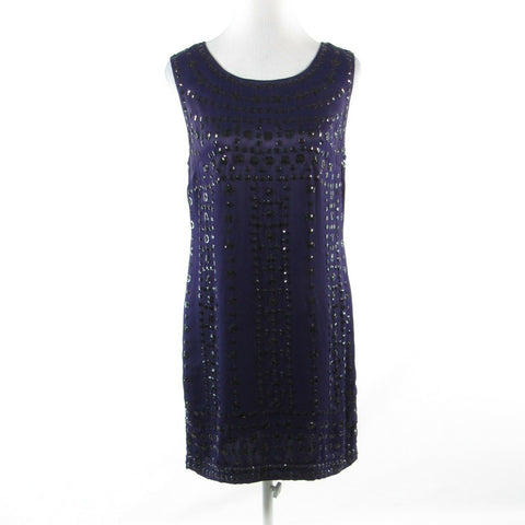 Dark purple black FRENCH CONNECTION beaded sleeveless sheath dress 6