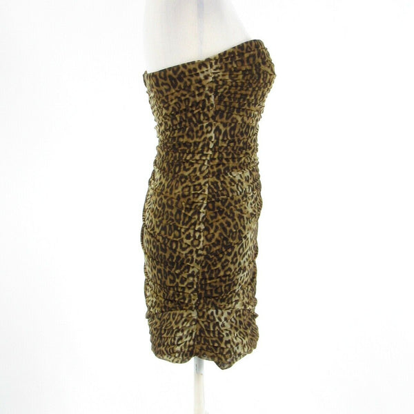 Light beige brown cheetah BCBG MAX AZRIA stretch sleeveless bodycon dress 4