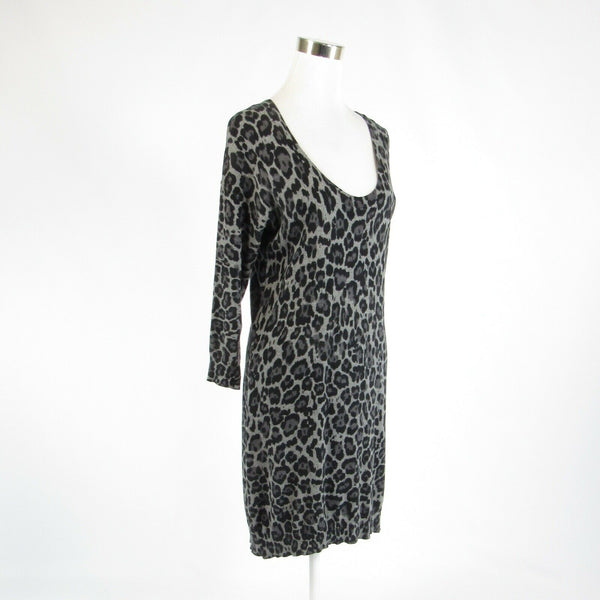 Gray black cheetah cotton blend BANANA REPUBLIC 3/4 sleeve sheath dress M-Newish