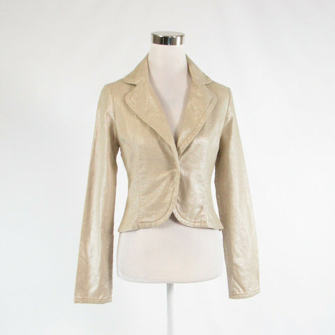 Beige linen blend TRUE MEANING shimmery long sleeve jacket 6-Newish