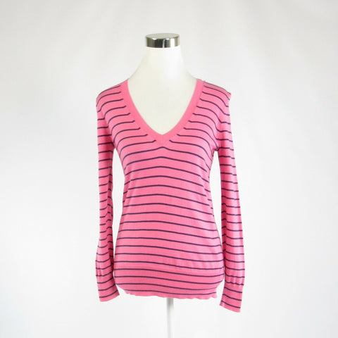 Pink black pinstripe 100% cotton J. CREW long sleeve V-neck sweater XS