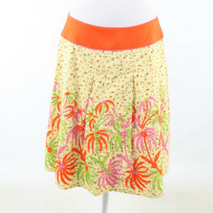 Light yellow orange floral print 100% cotton NOTICEABLE pleated skirt 10