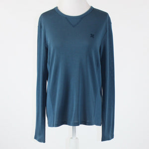 Dark blue cotton blend AX ARMANI EXCHANGE long sleeve crewneck blouse L