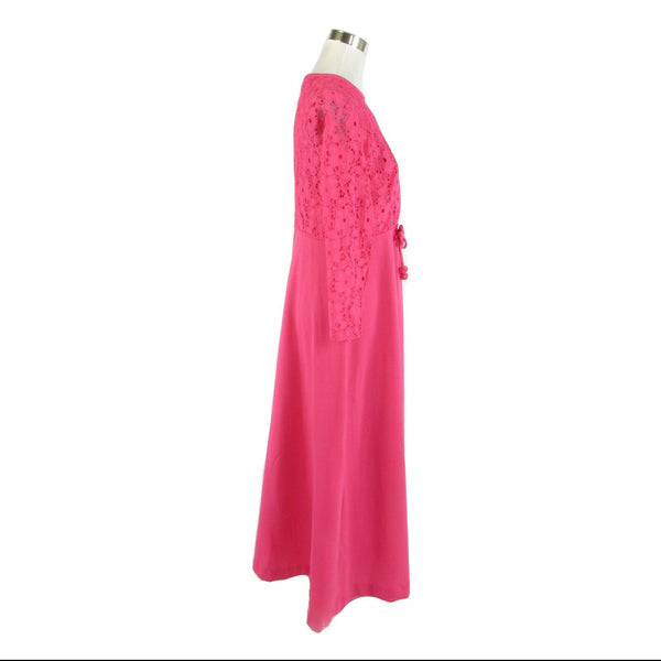 Pink crochet lace overlay long sleeve vintage maxi dress M-Newish