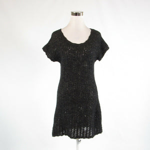 Black gray wool blend ANTHROPOLOGIE SPARROW stretch short sleeve sweater dress S-Newish