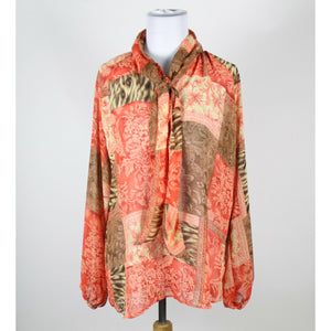 COLDWATER CREEK orange brown & yellow geometric long sleeve popover blouse M-Newish