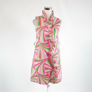 Pink geometric cotton blend MELLY M stretch sleeveless wrap dress 4-Newish