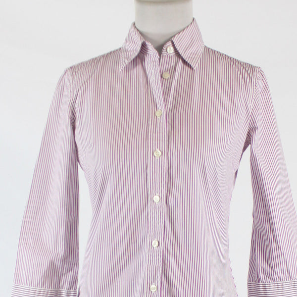 Purple and white striped 100% cotton J. CREW 3/4 sleeve button down shirt XS-Newish