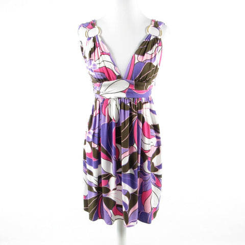 Periwinkle purple pink geometric MILLY stretch sleeveless A-line dress M