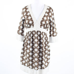 Brown white geometric 100% cotton MILLY 3/4 sleeve empire waist dress 8