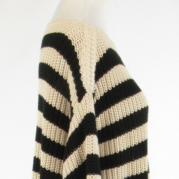 Light beige black striped 100% cotton ANN TAYLOR 3/4 sleeve boat neck sweater S-Newish