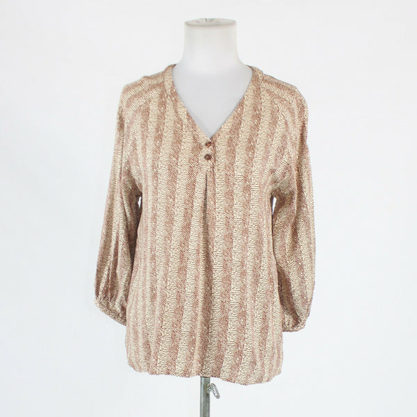 Brown and white geometric rayon CYNTHIA ROWLEY 3/4 sleeve popover blouse S-Newish