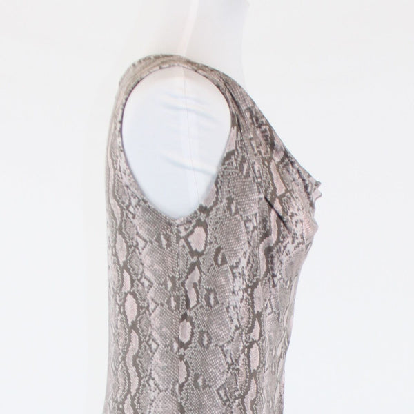 Taupe pink and gray snake stretch MICHAEL KORS draped neck tank top 0P