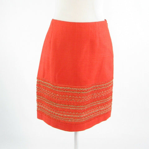 Orange textured 100% silk PER SE sequin trim A-line skirt 4