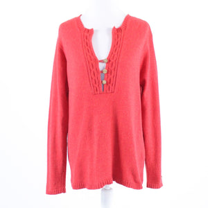 Red cotton blend COLUMBIA long sleeve split neck sweater L