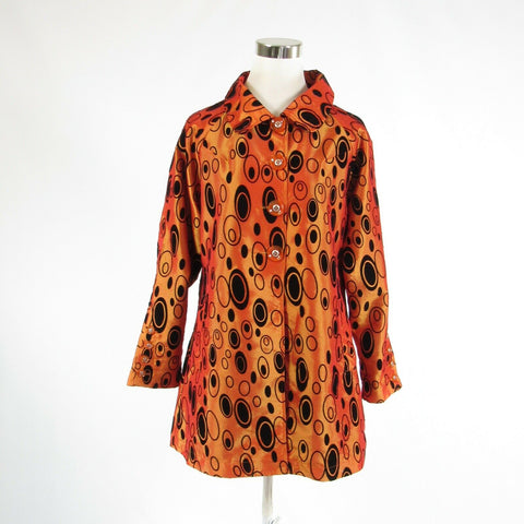 Orange yellow geometric UBU shimmery long sleeve jacket S-Newish