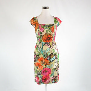 Multicolor beige floral print 100% cotton MILLY cap sleeve sheath dress 6-Newish