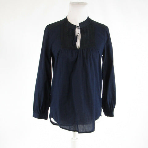 Navy blue 100% cotton J. CREW embroidered trim long sleeve blouse XS-Newish