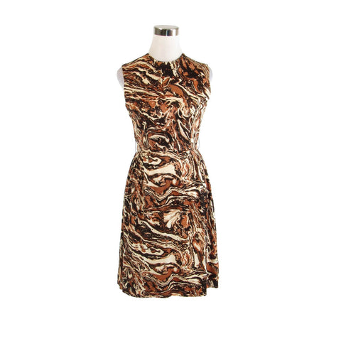 Light beige brown abstract sleeveless stretch vintage A-line dress XS