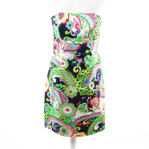 Multicolor paisley cotton MELLY M strapless sheath dress 10