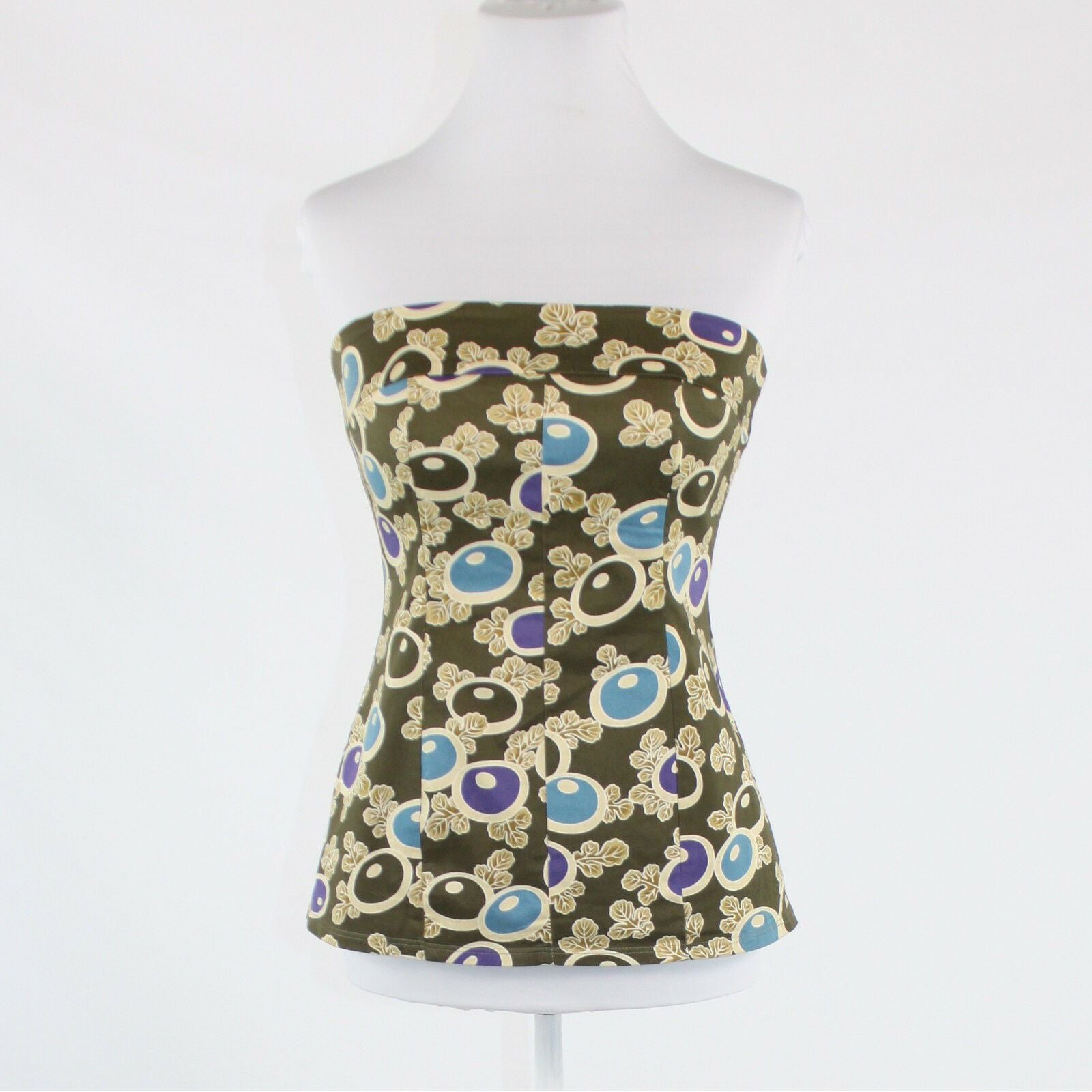 Olive green beige ivory blue purple floral cotton NOTICE strapless blouse 4